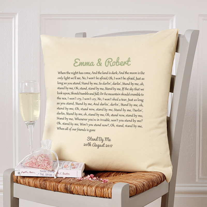 personalised song lyrics cushion