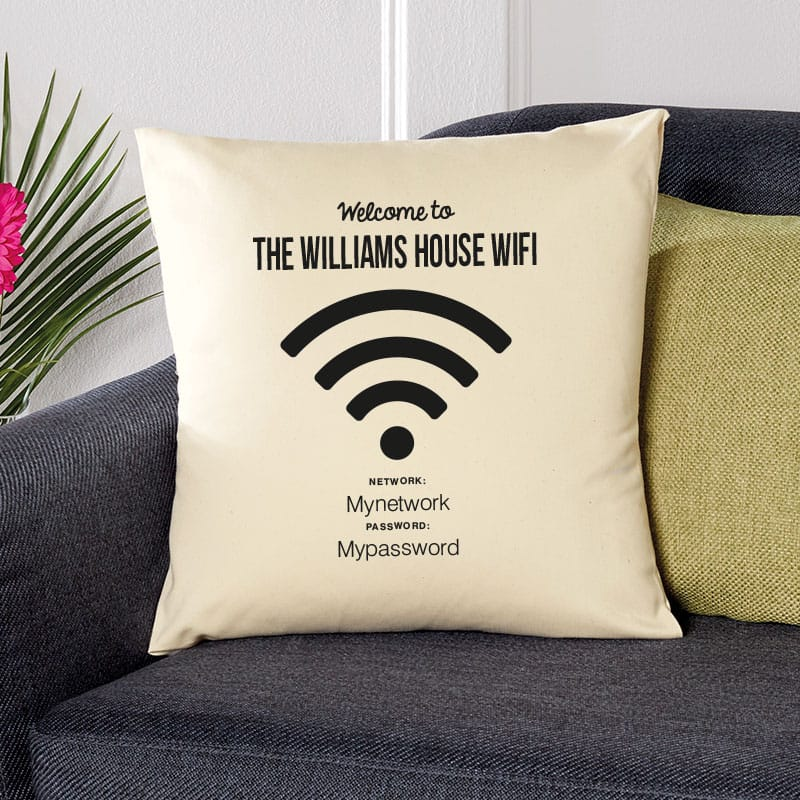 personalised cushion wifi password network
