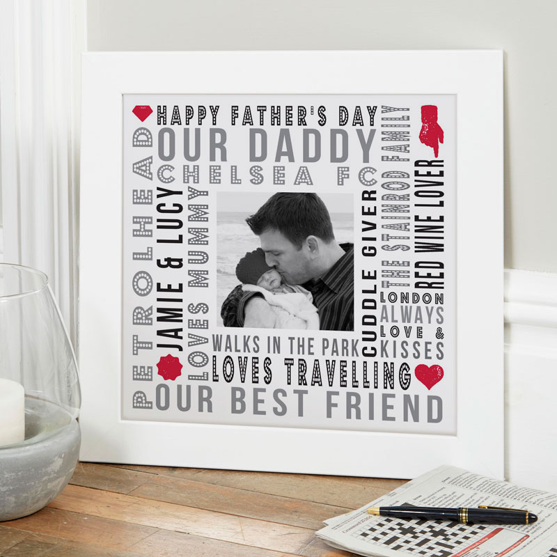 Personalised fathers day gift print words and photo