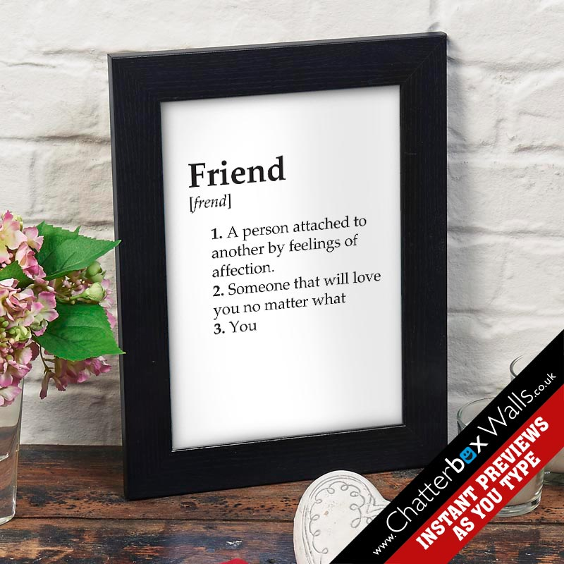 friend dictionary definition framed print canvas