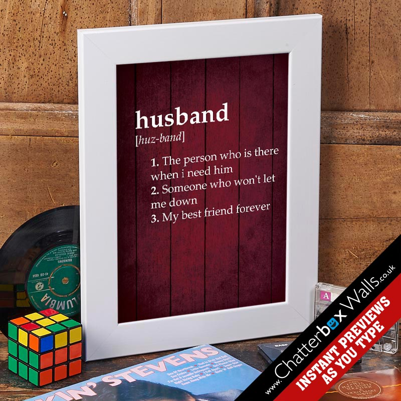 personalised husband dictionary definition print opulance