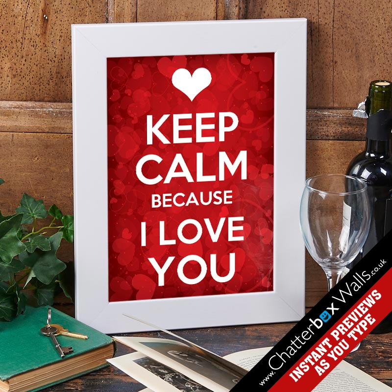 keep calm i love you personalised print