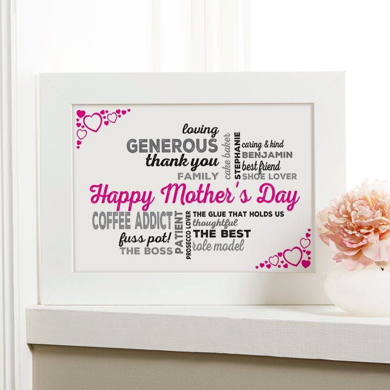 personalised mothers day gift framed print word art