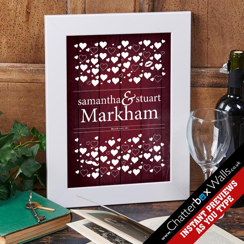 personalised love hearts wedding date framed print