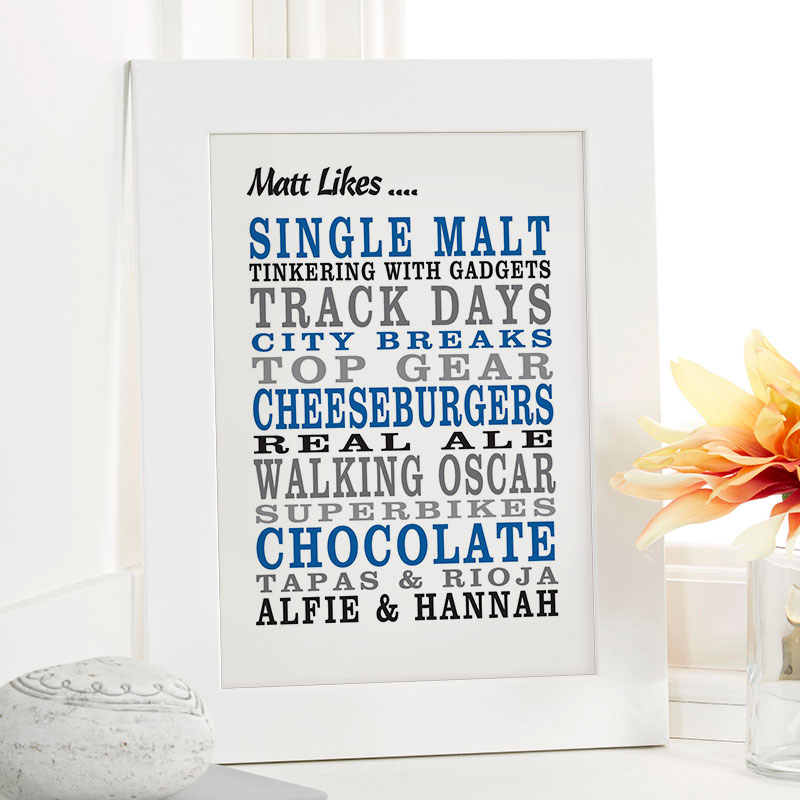 personalised gift for men birthday word picture