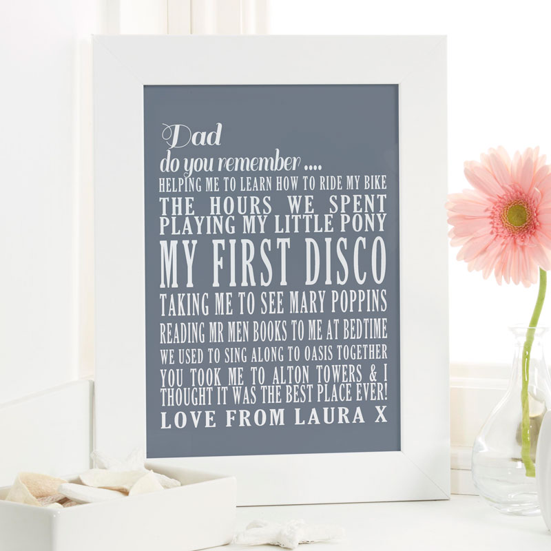 personalised fathers day word print present special memories