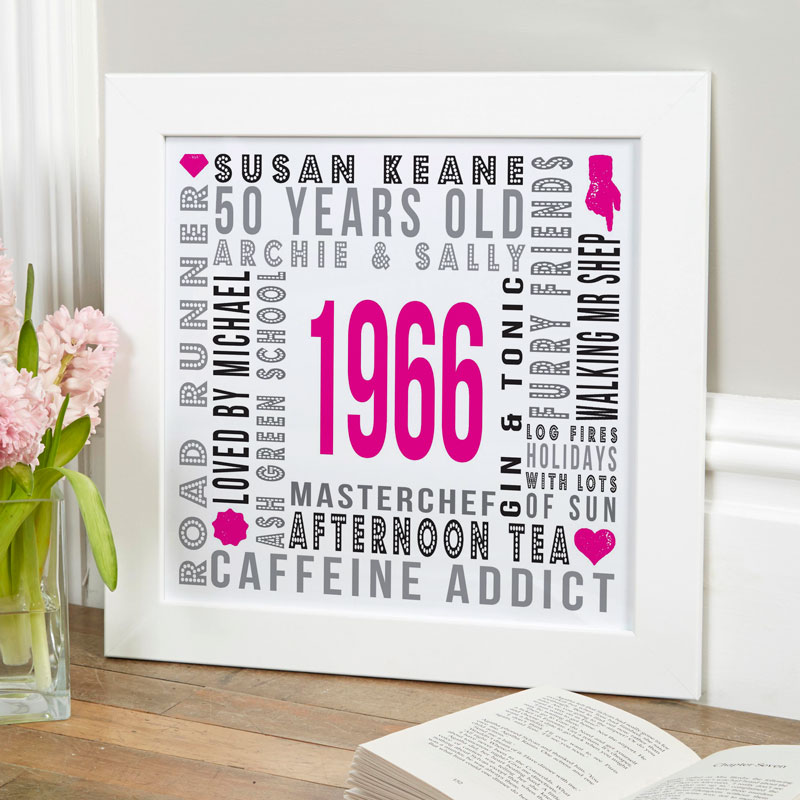 personalised birth year 50th birthday gift print