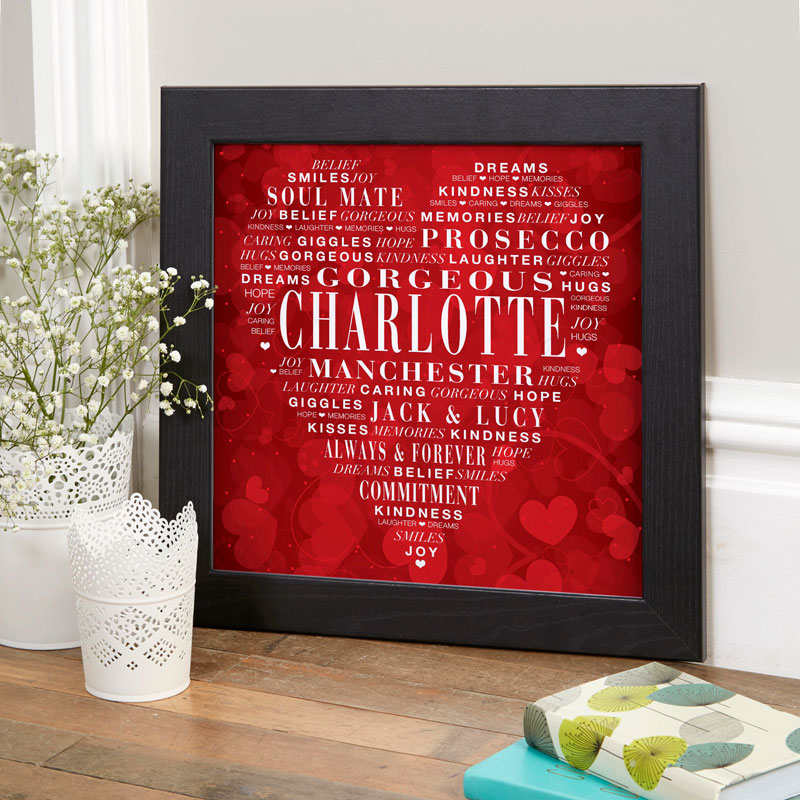Personalised typographic prints posters canvases word art gifts for valentines wife girlfriend husband boyfriend