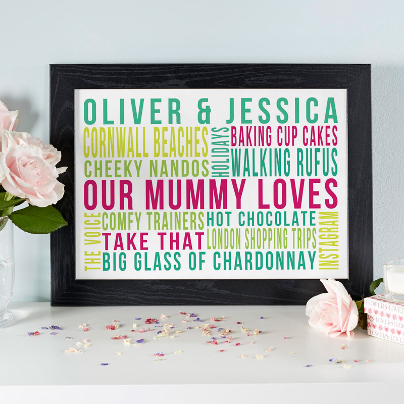 personalised framed word prints