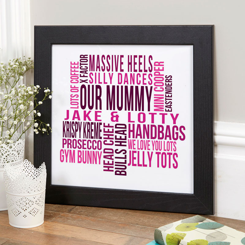 personalised wall art framed word print