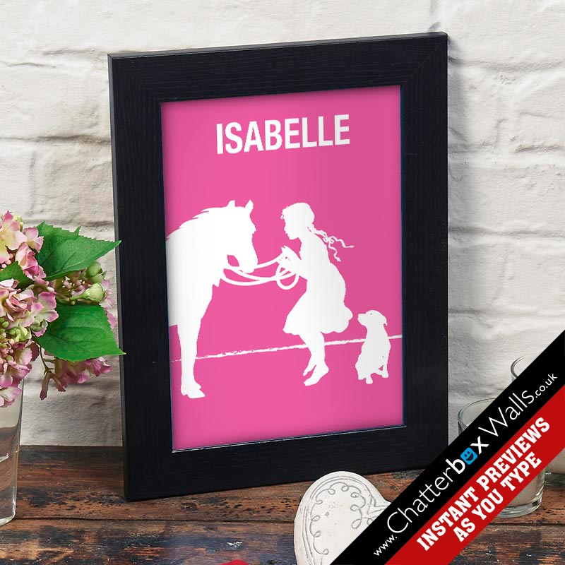 personalised girls room print canvas pony