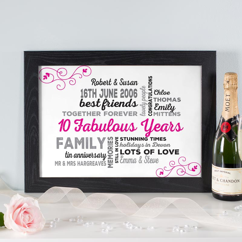 Personalised typographic dates Wedding Anniversary Prints Posters Canvas