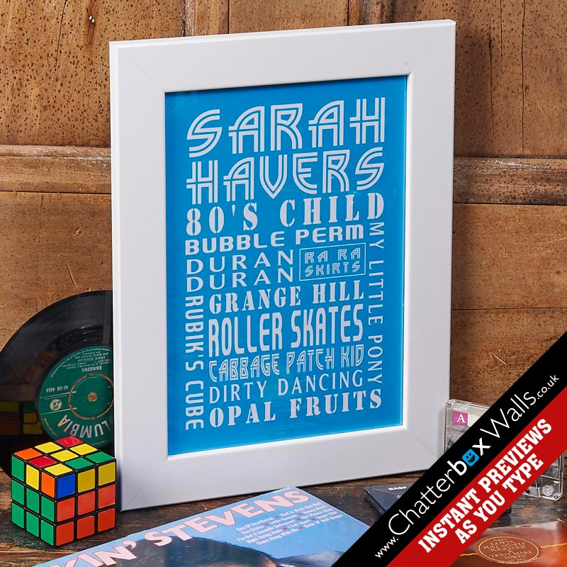 personalised framed birthday print blue
