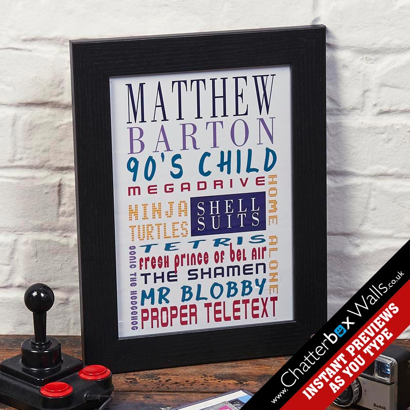 personalised birthday present 90's kids typographic art print