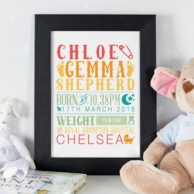 personlaised baby nursery room framed poster print