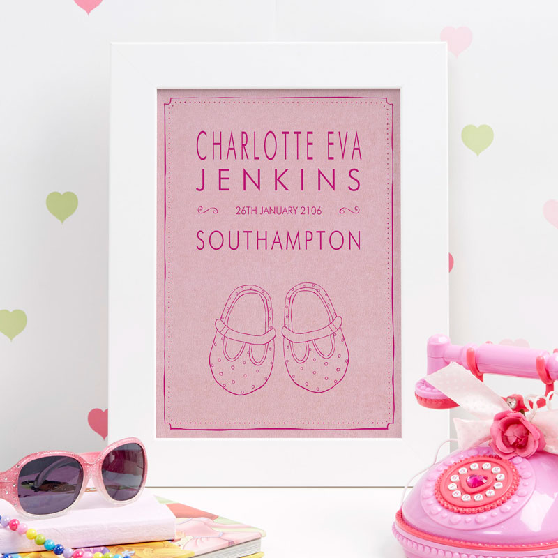new baby girl name print birth gift