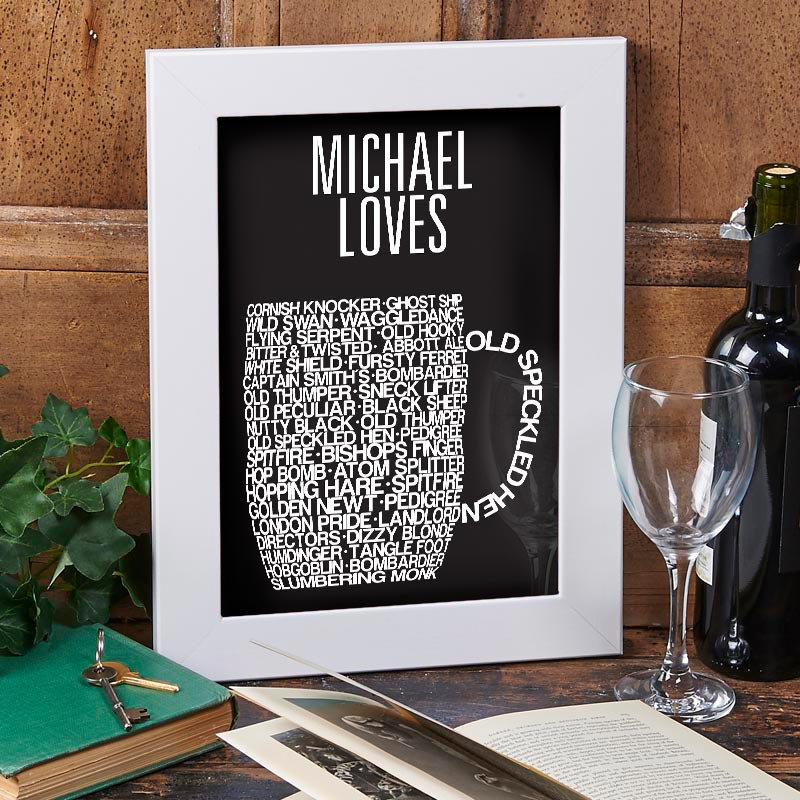 personalised beer glass print