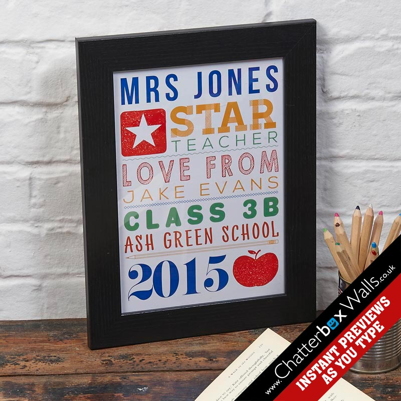Personalised teacher end of term framed prints gifts canvas