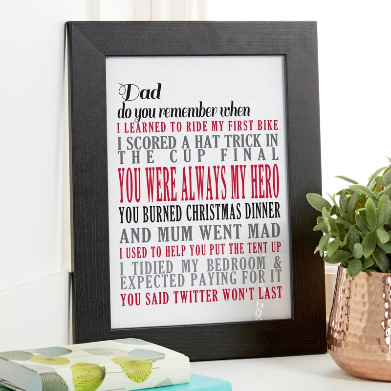 personalised memories print typographic art