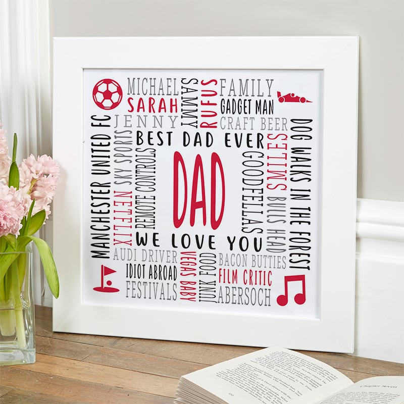 personalised gift for him word picture framed