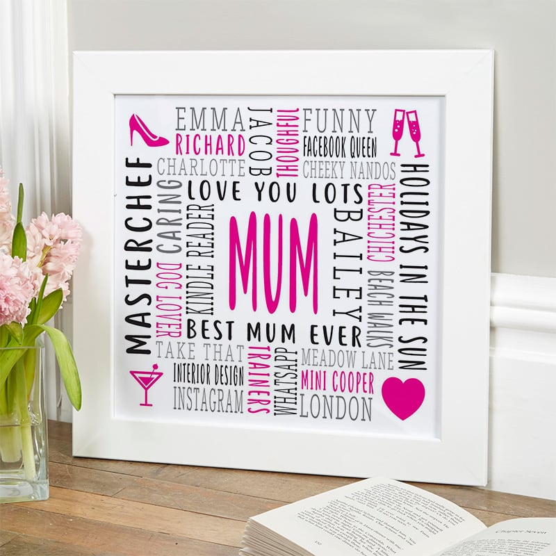 personalised gift for her word picture framed