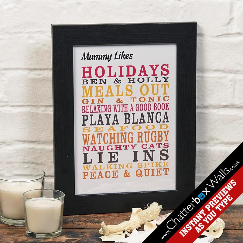 Personalised typographic likes word art prints posters canvases