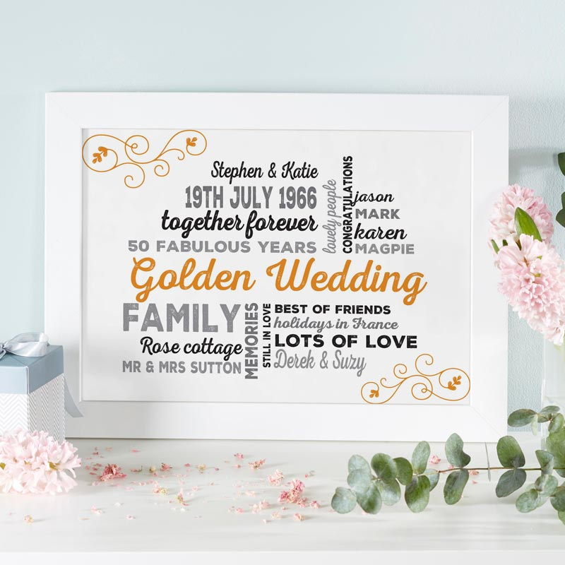 Golden Wedding Anniversary Presents Uk : Personalised Wedding Anniversary Typographic Art Print Live Previews