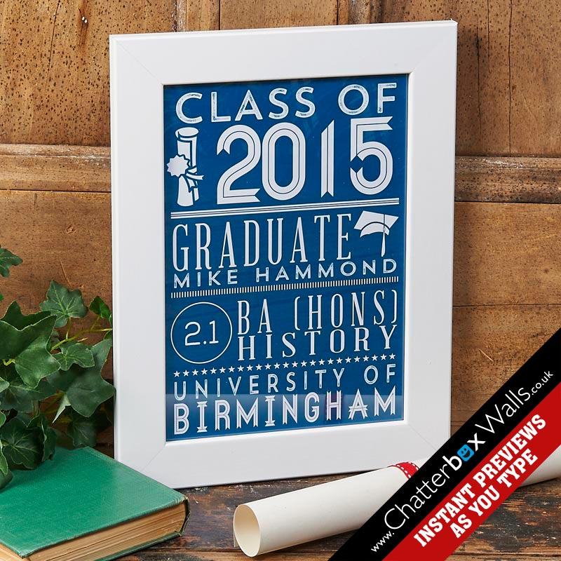 personalised graduation gift class of print