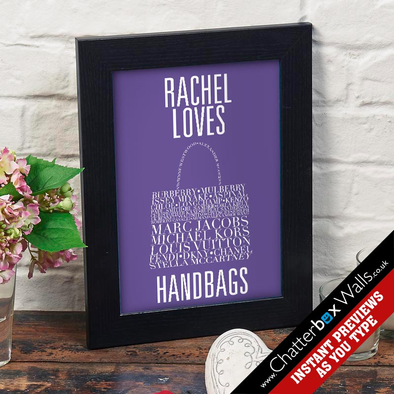 personalised handbag typographic word art gift prints