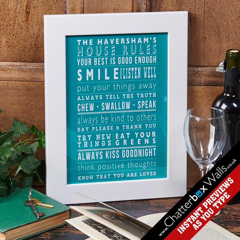 Personalised typographic House family Rules Prints posters canvases