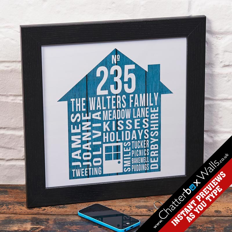 personalised typographic house print word art for walls