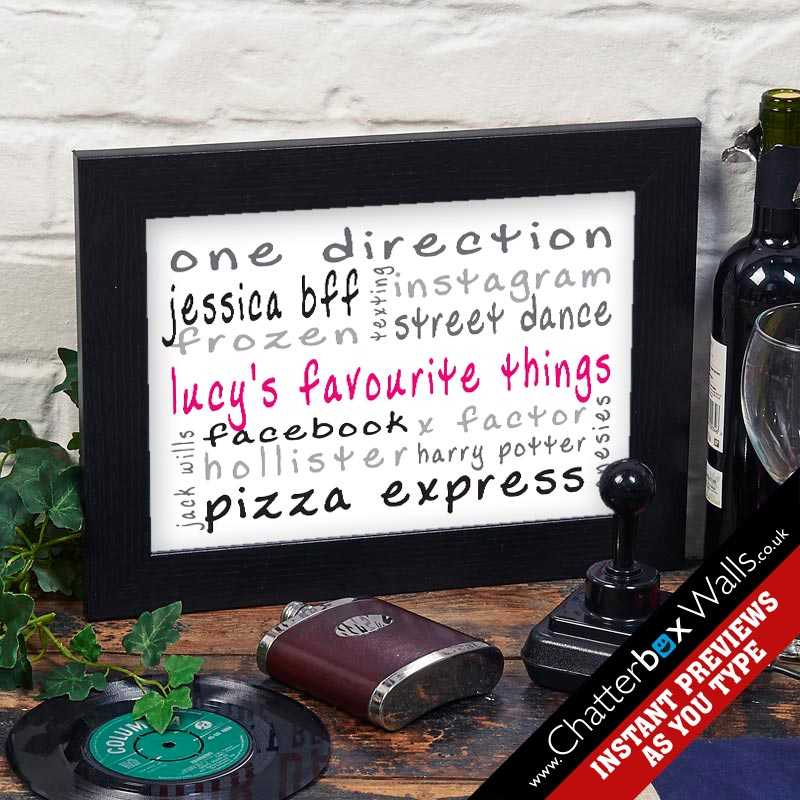 mummys favourite things personalised word art print