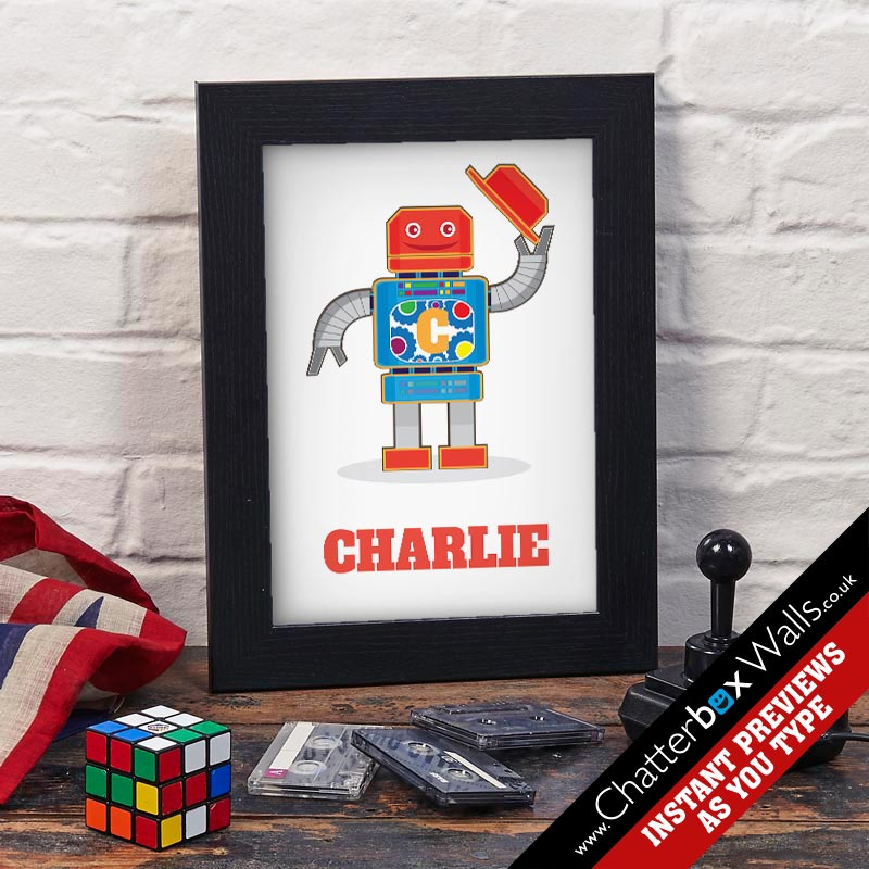 Personalised Robot name print for kids rooms
