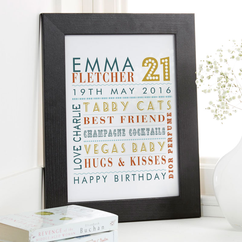 typographic 21st birthday print words art