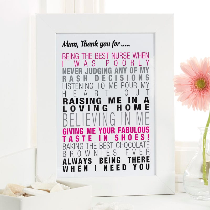 Personalised mothers day present framed print
