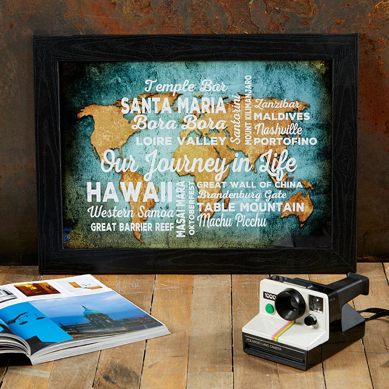 personalised world map framed print