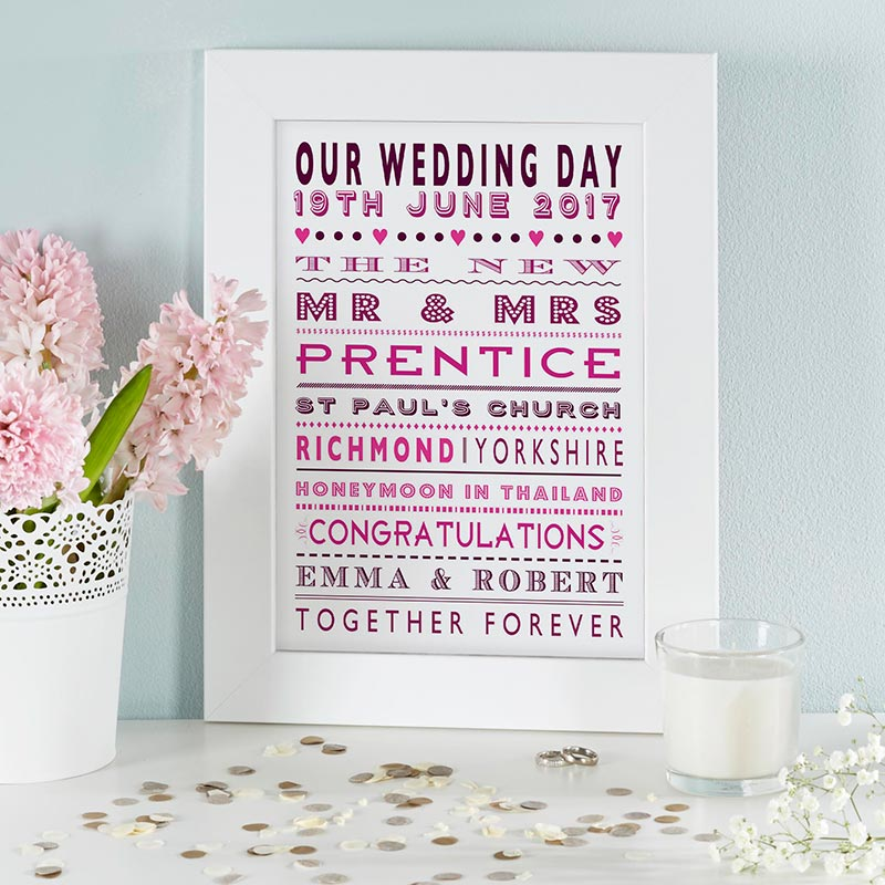 custom word art print for weddings and anniversary