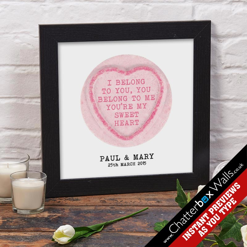 personalsied square love heart sweet print