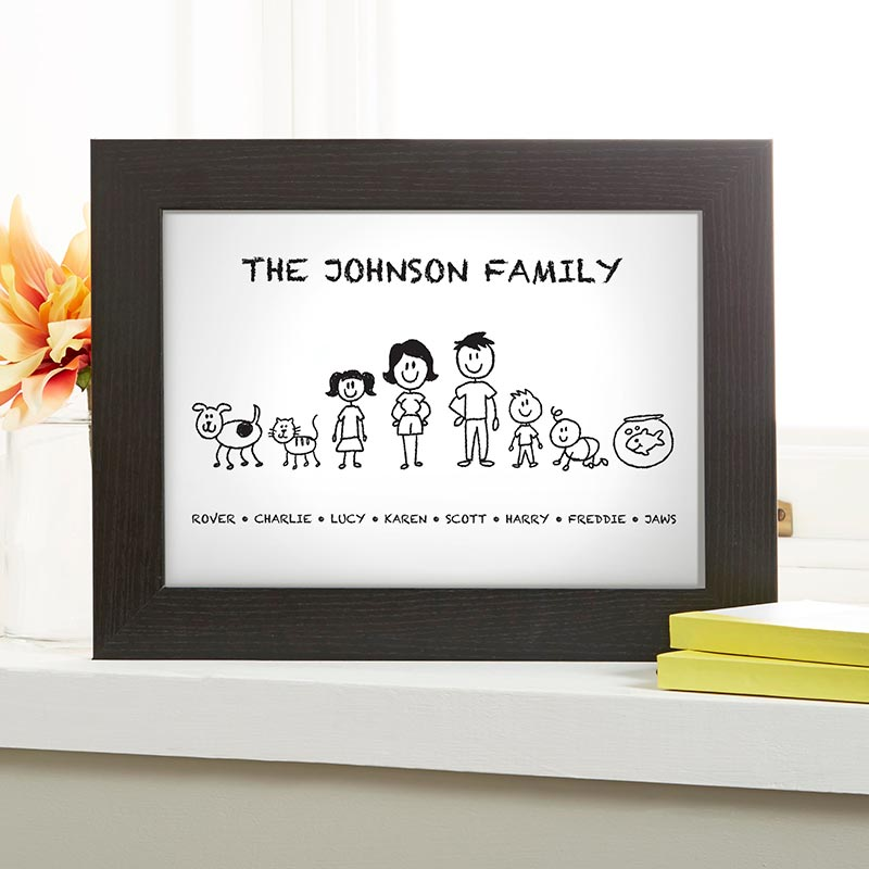 family drawing personalised print