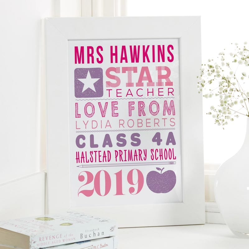 personalised teacher gift personalised word art