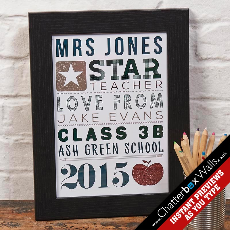 Personalised teacher gift print chatterbox walls negle Images