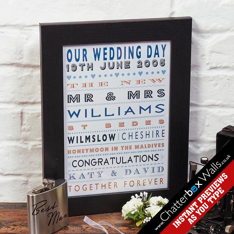 bespoke wedding anniversary framed print with words
