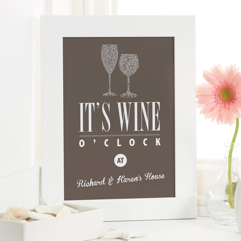 wine print gift with personalised name