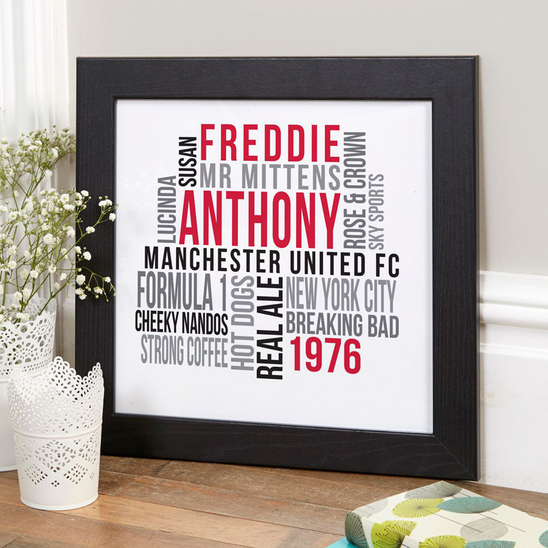 Personalised typographic prints posters canvases word art gifts for him dad brother grandad