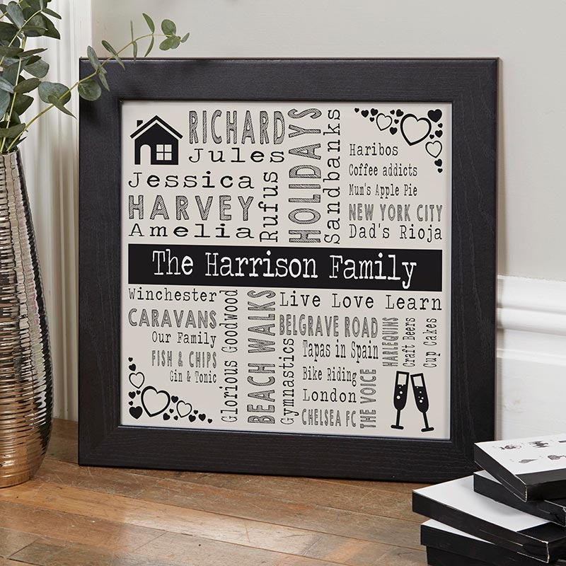 personalised word art gift of wall art