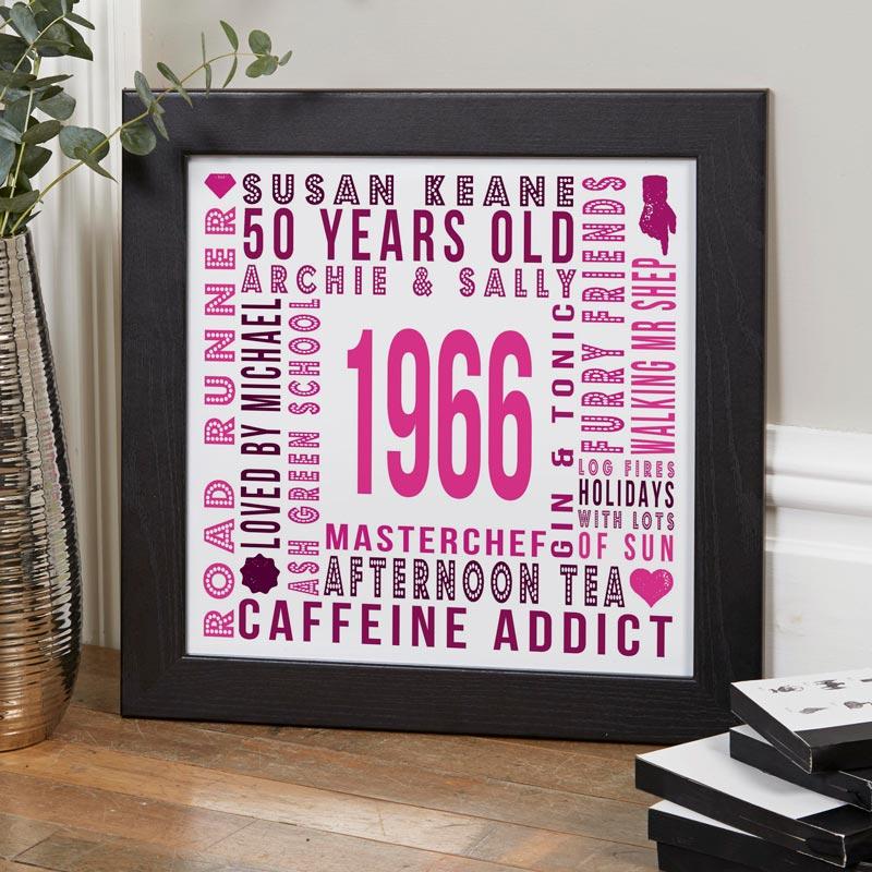 Personalised Birthday Word Art Print