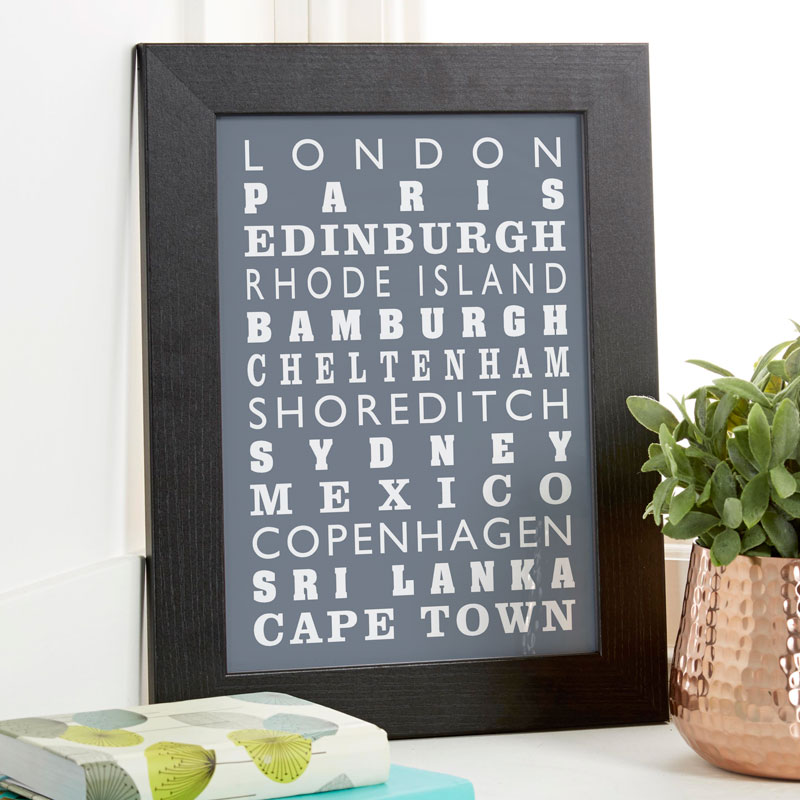 personalised print travels framed