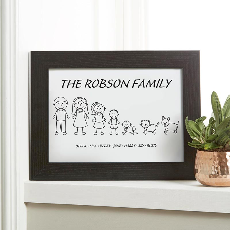 stick people family custom wall art canvas print