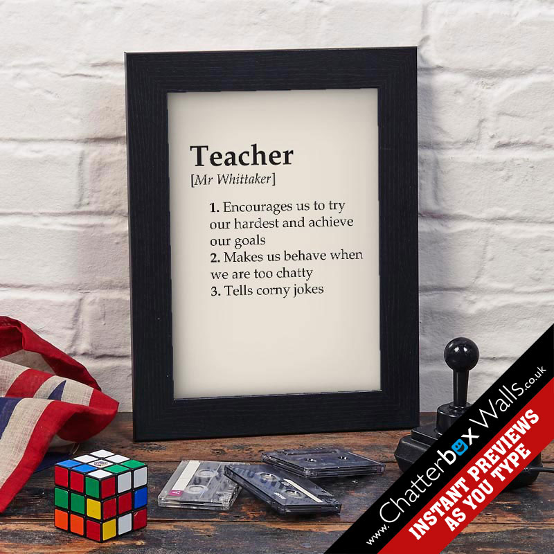 personalised gifts for teacher dictionary definition framed print