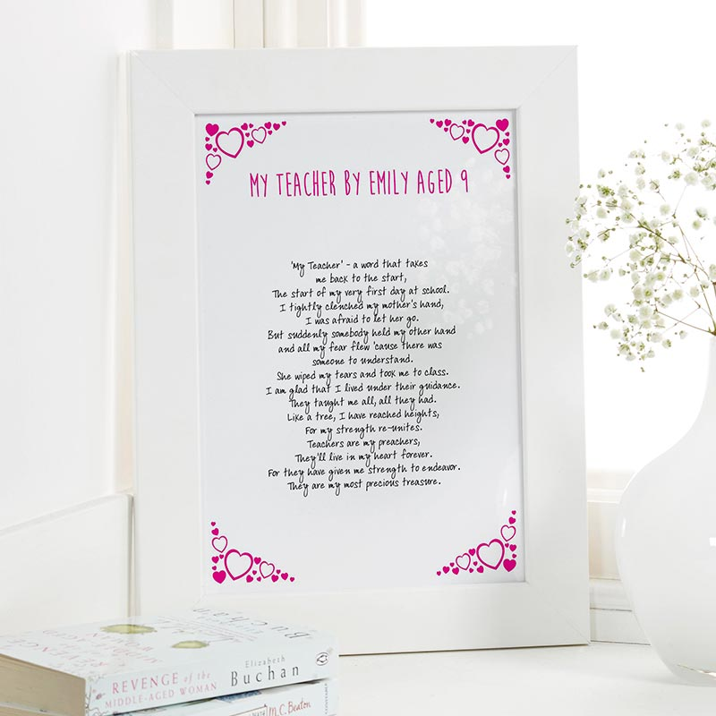 teacher present personalised poem framed print